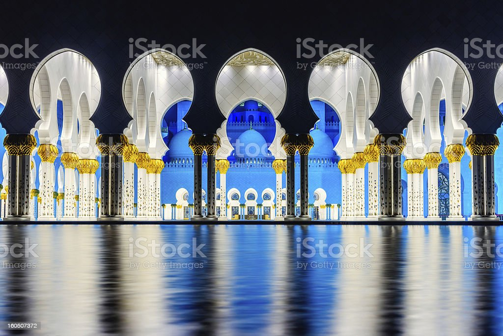 Beauty of Symmetry at Grand Mosque Abu Dhabi stock photo