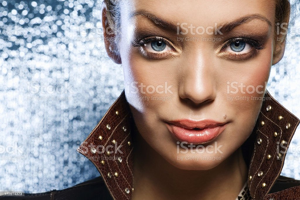 Beauty On Blue royalty-free stock photo