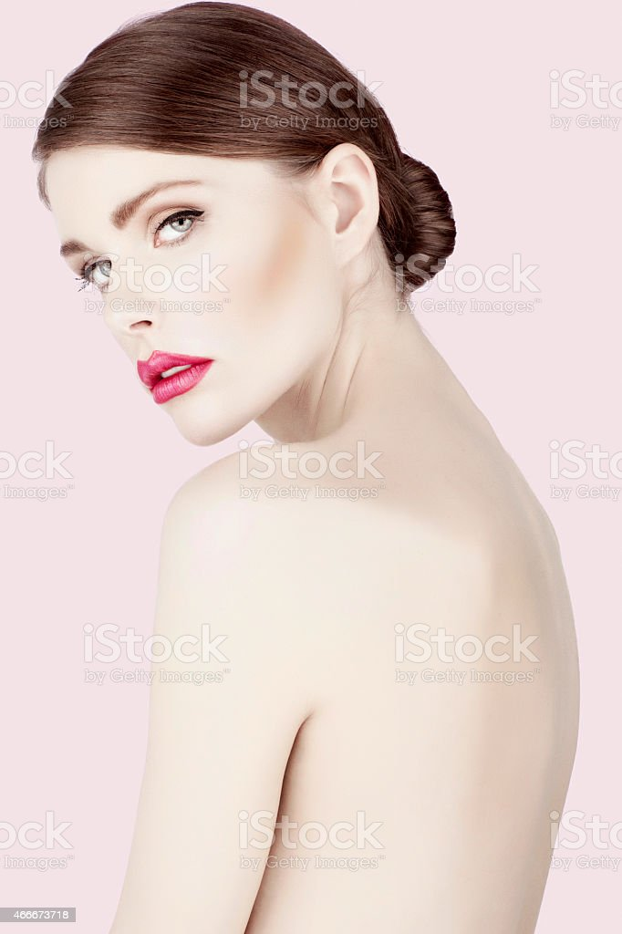 Beauty photo shot  young beautiful woman with glamour  Pink lipstick stock photo