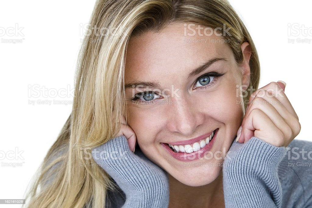 Beauty Beautiful blond woman isolated on white with blue eyes and a perfect smile 20-24 Years Stock Photo