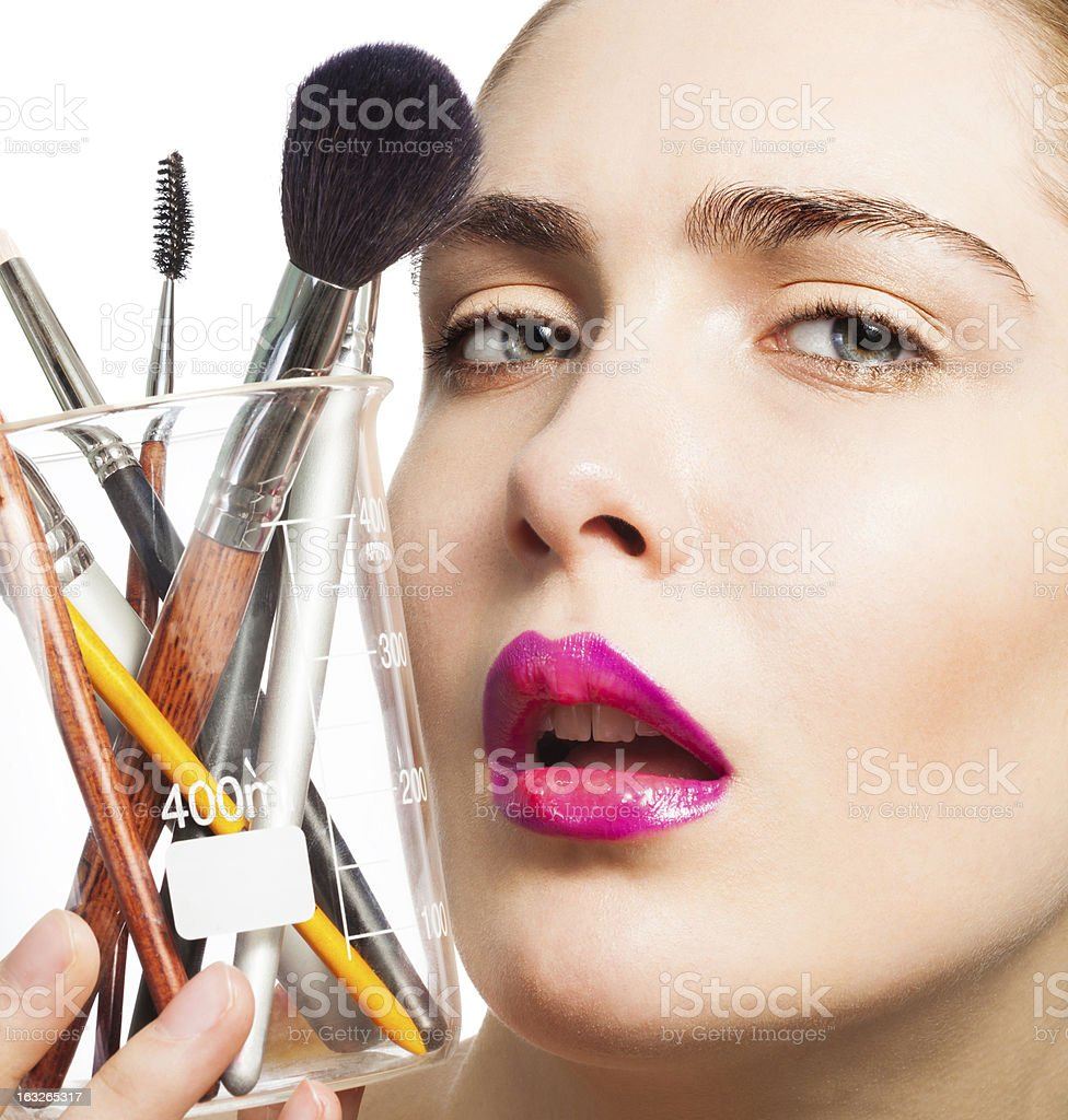 Beauty portrait and makeup science royalty-free stock photo