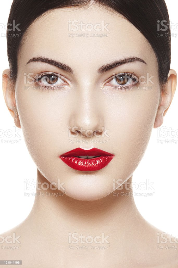 Beauty portrait chic spanish young woman with red lips make-up stock photo