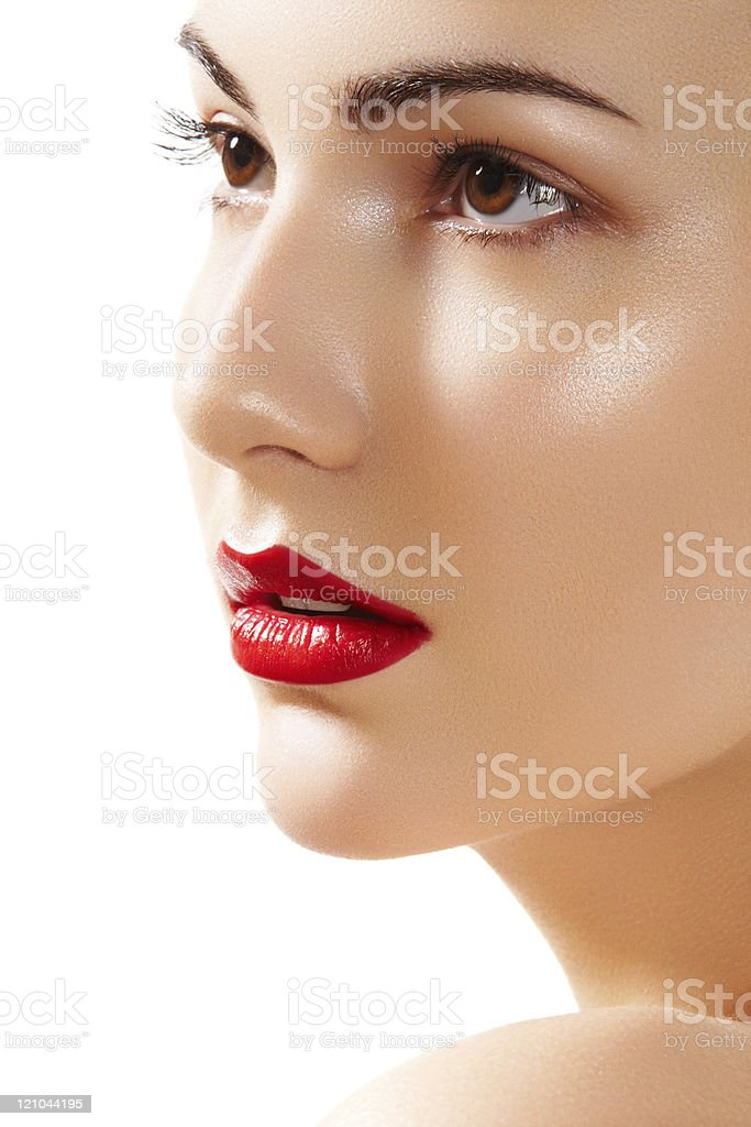 Beauty portrait chic young woman model with red lips makeup stock photo