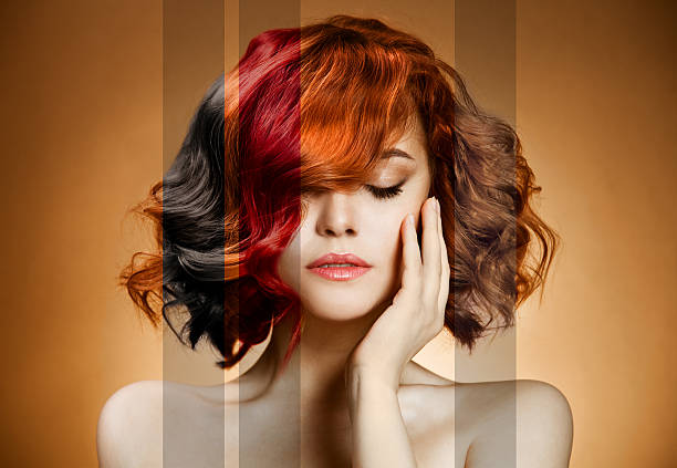 beauty portrait. concept coloring hair - hairstyle stock photos and pictures