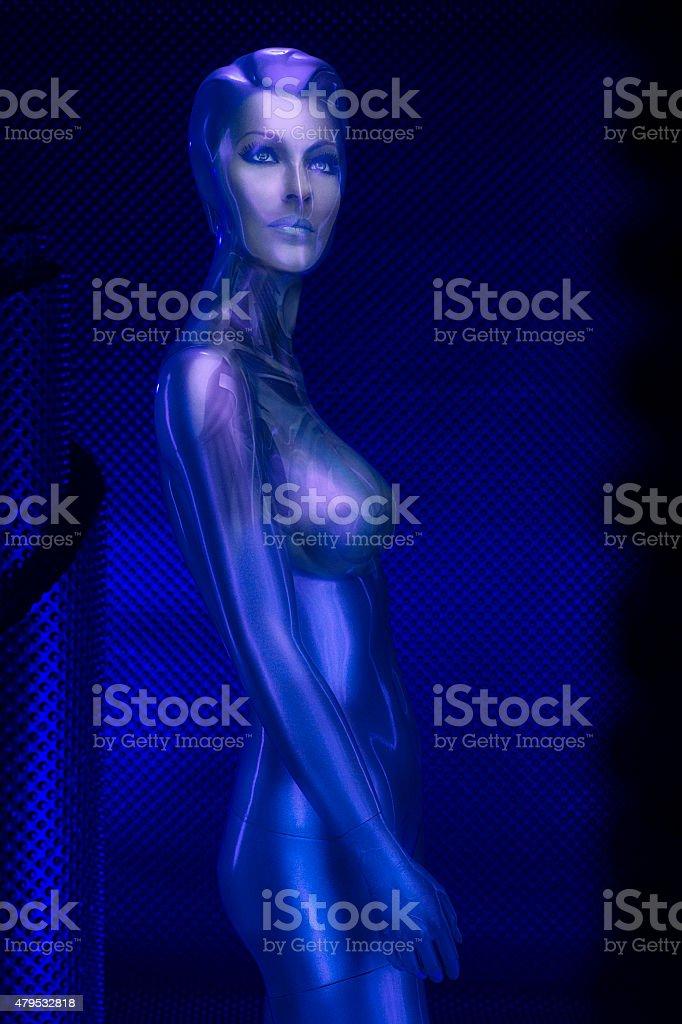 Beauty portrait Digital woman robot of the future. Post processing...