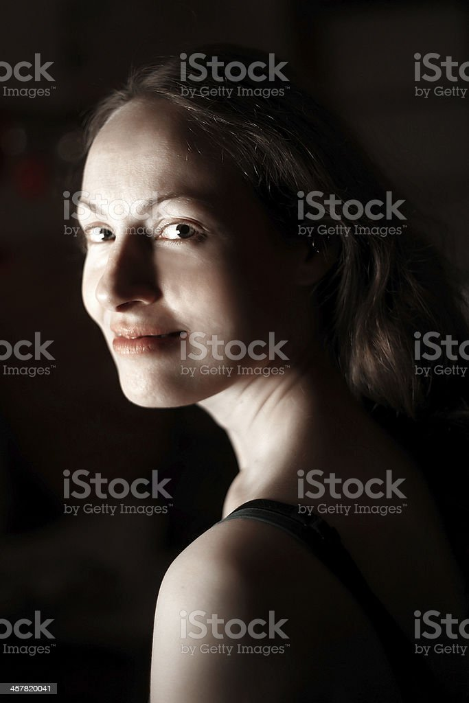 Beauty Portrait in Dark stock photo