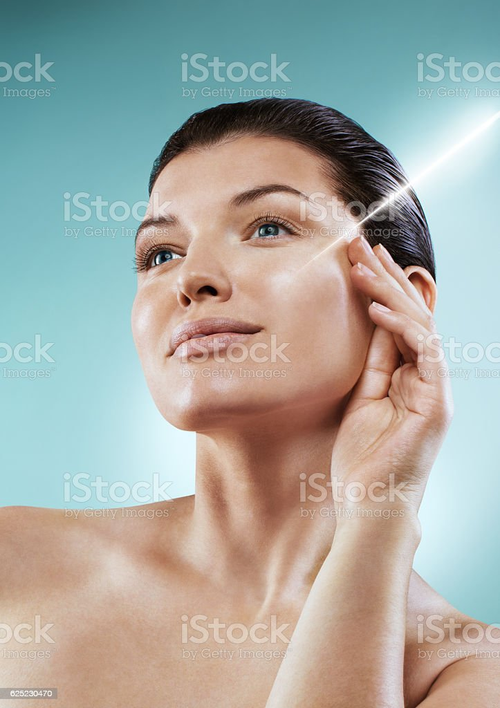 Beauty portrait. Laser correction of wrinkles. stock photo