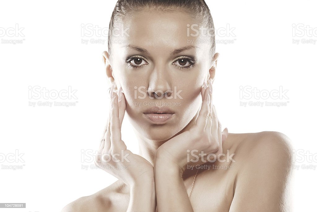Beauty portrait of a cute girl with perfect skin royalty-free stock photo