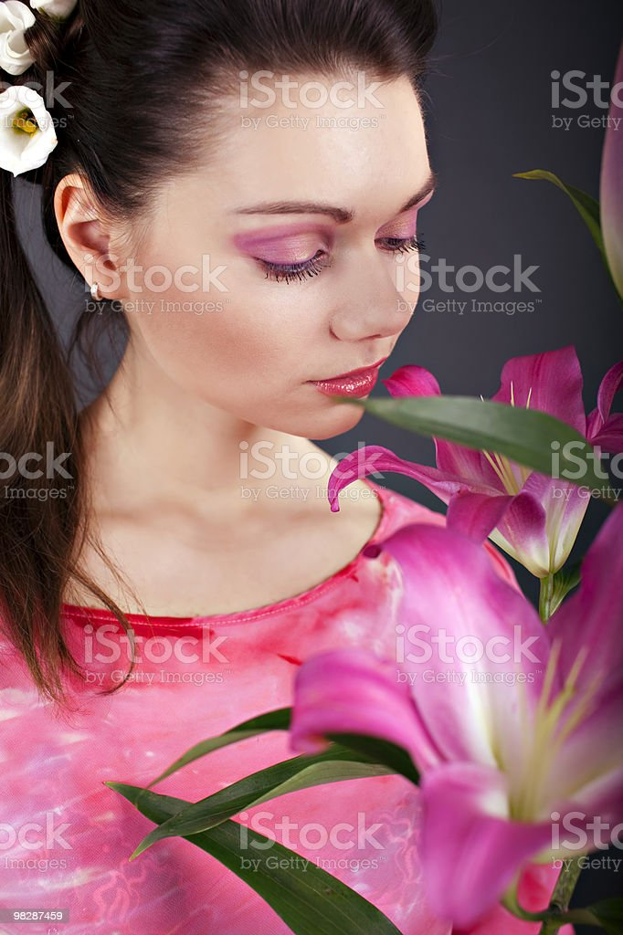 beauty portrait of a woman with flower royalty-free stock photo
