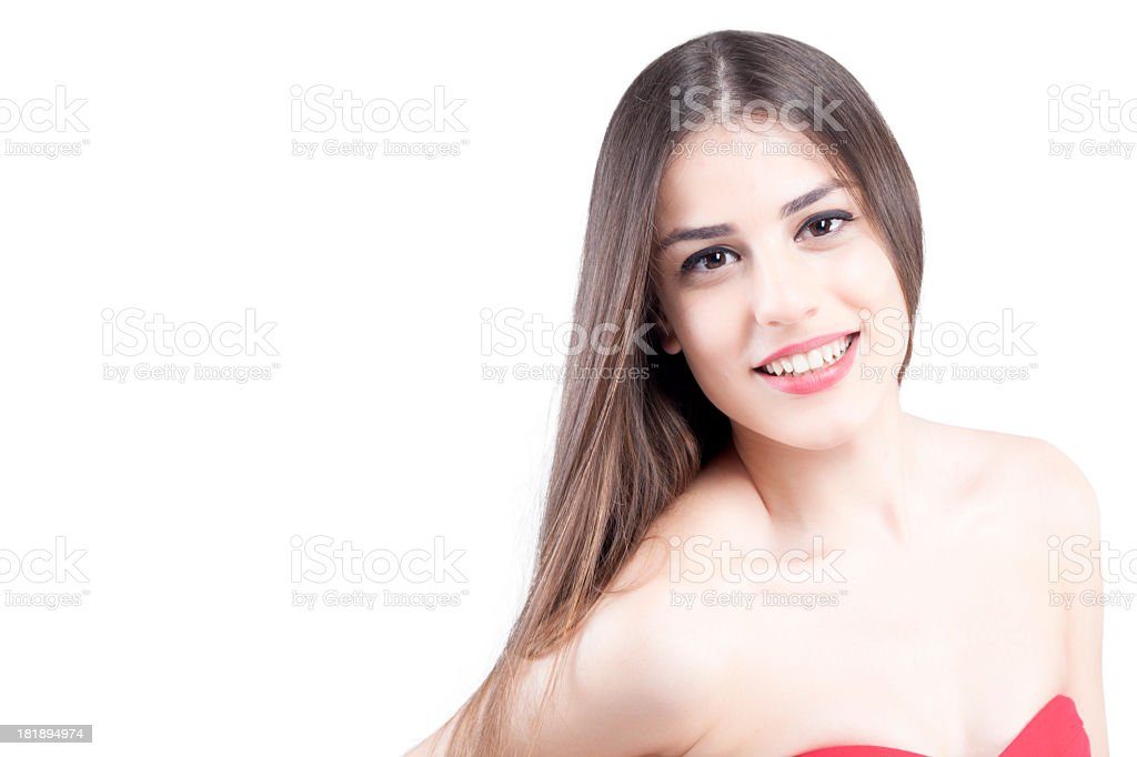 Beauty portrait of a young brunette woman with beautiful smile royalty-free stock photo