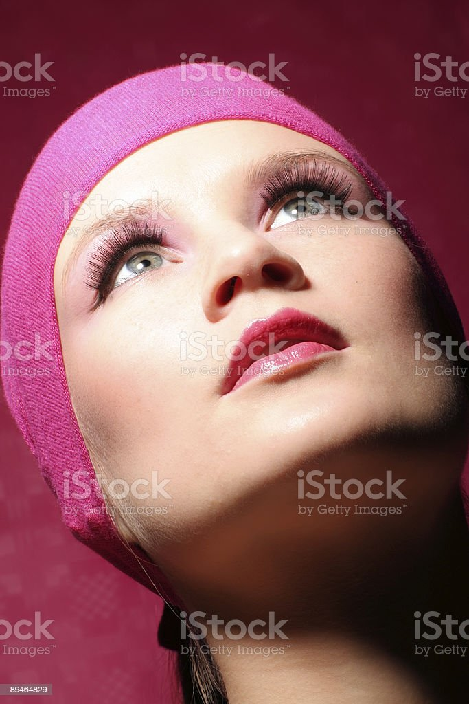 beauty portrait of a young woman in pink fashion royalty-free stock photo