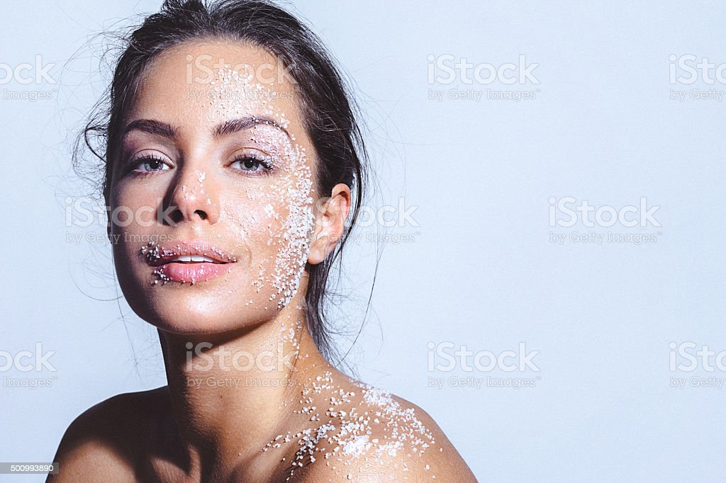 Beauty portrait of a young woman with clean healthy skin stock photo