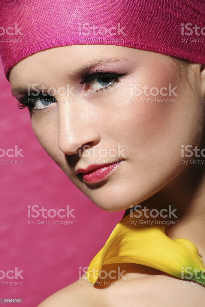 beauty portrait of a young woman with  flower royalty-free stock photo