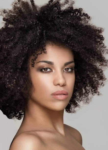 Beauty portrait of african natural girl. stock photo