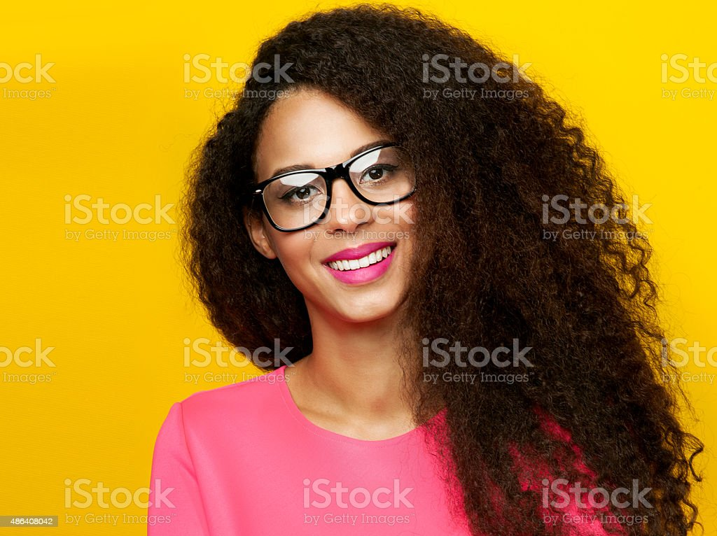 Beauty portrait of attractive girl smiling. stock photo