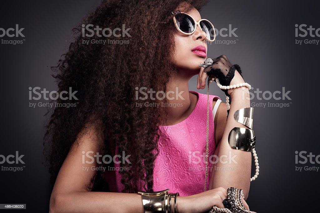 Fashion photo of beautiful elegant african american woman. Girl...