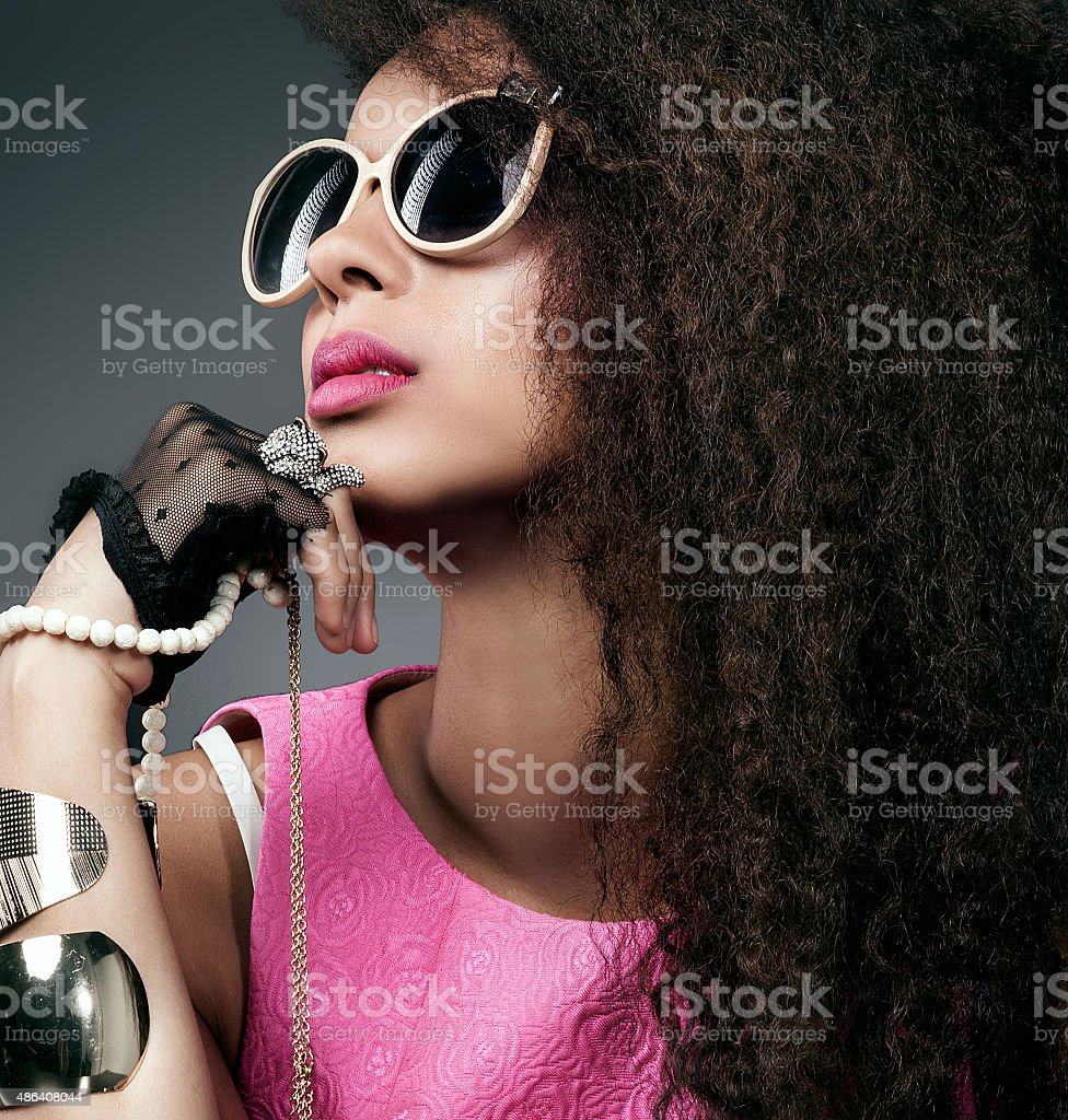 Beauty portrait of attractive girl with jewelry. stock photo