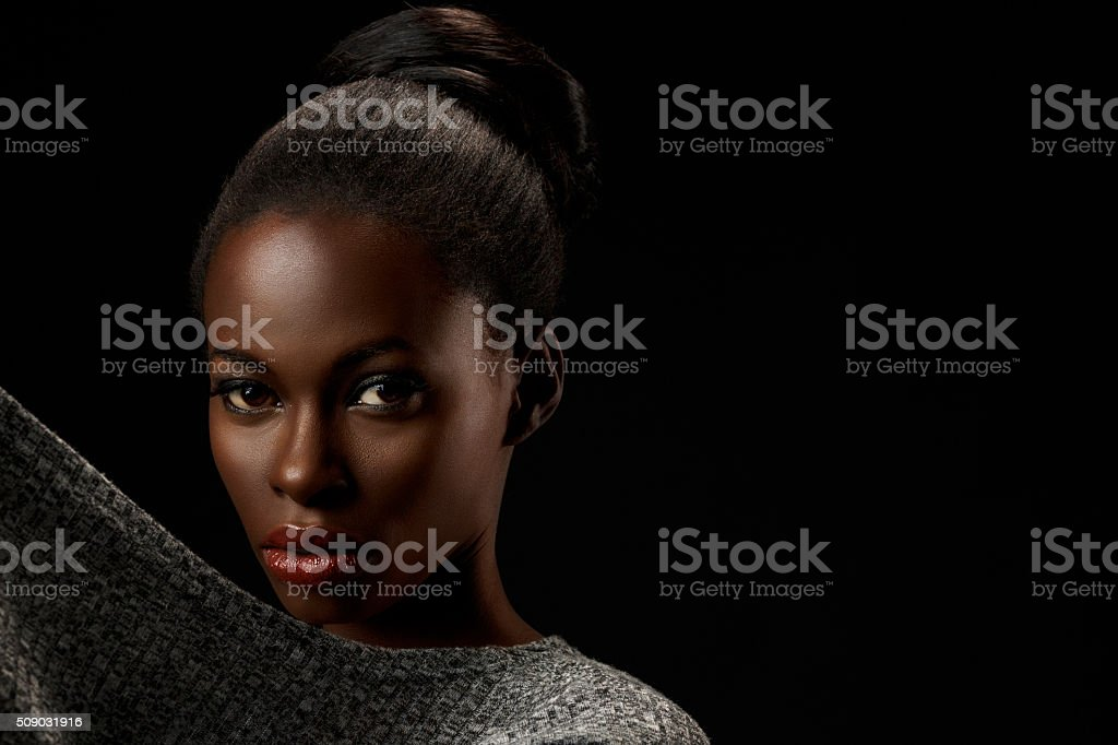 Beauty portrait of beautiful  young african woman stock photo