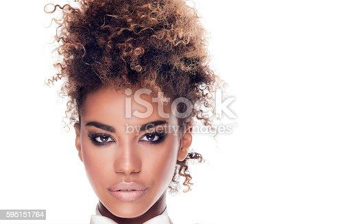 istock Beauty portrait of elegant african american woman. 595151764