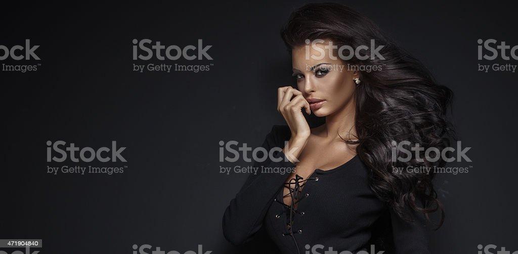Beauty portrait of elegant young woman. stock photo