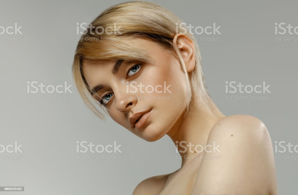 Beauty portrait of fashion female model with natural skin