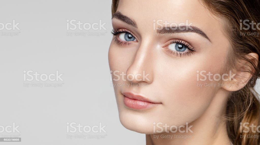 Beauty portrait of female face with natural clean skin stock photo
