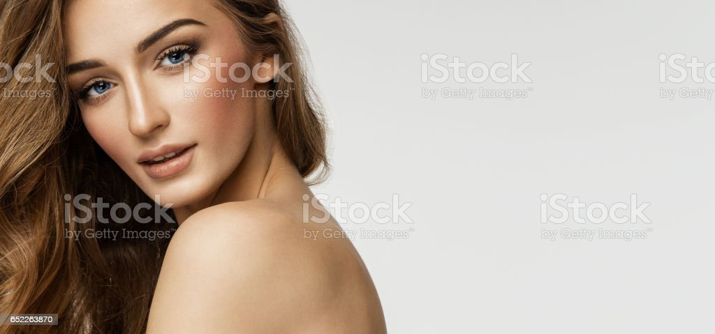 Beauty portrait of female face with natural skin stock photo