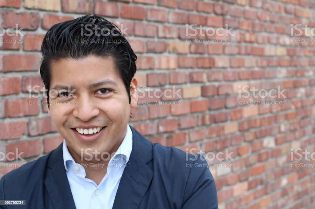 Beauty Portrait Of Handsome Hispanic Young Male Stock