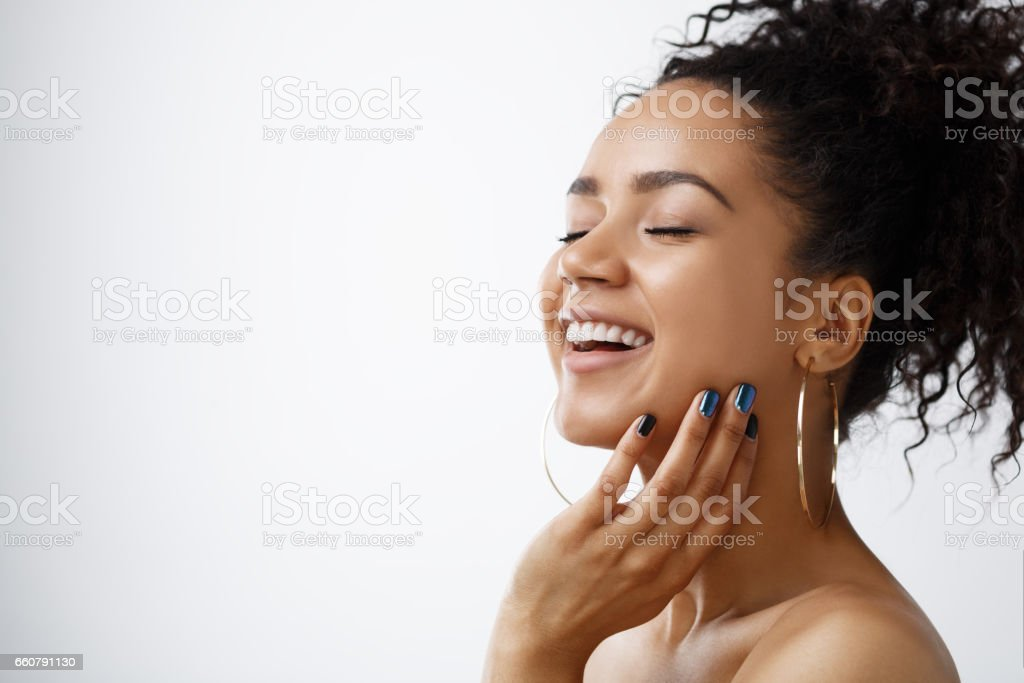 Beauty portrait of happy young woman stock photo