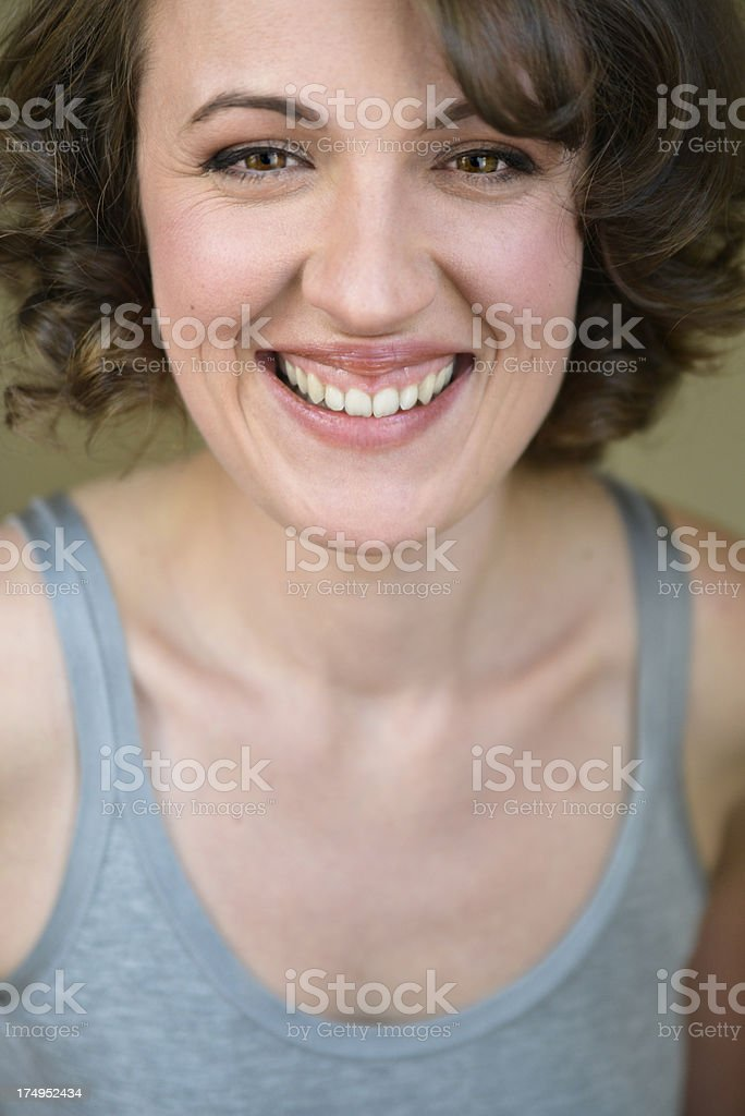 Beauty portrait of real woman in her thirties, vertical royalty-free stock photo