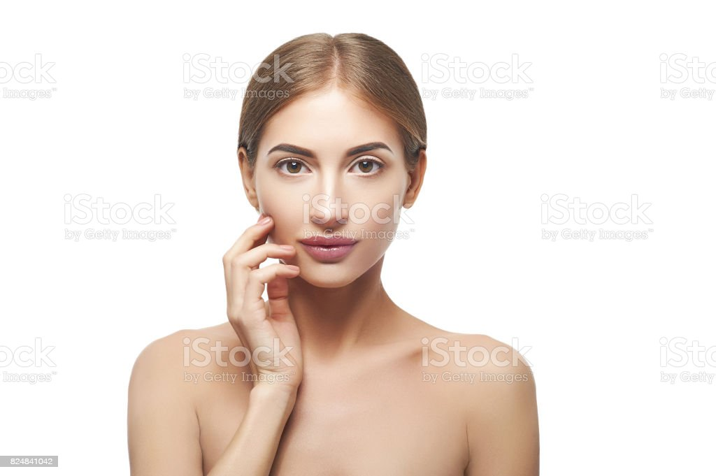 Beauty portrait of woman touching face стоковое фото