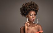 istock Beauty portrait of woman with afro 1272583169