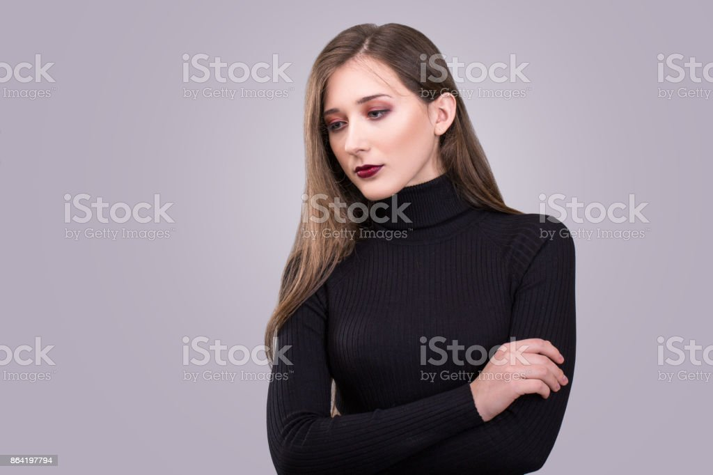 Beauty portrait of young attractive woman with agressive make-up royalty-free stock photo