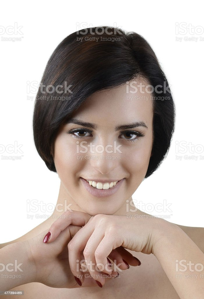 Beauty portrait of young beautiful smiling caucasian woman in studio royalty-free stock photo