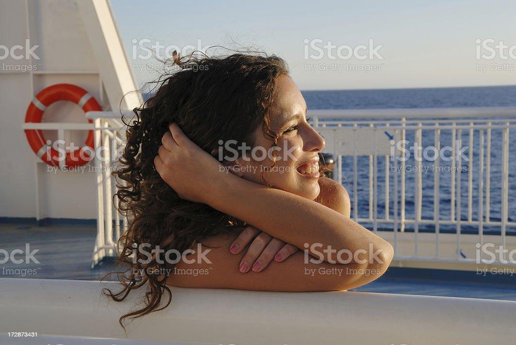 beauty portrait on ship royalty-free stock photo