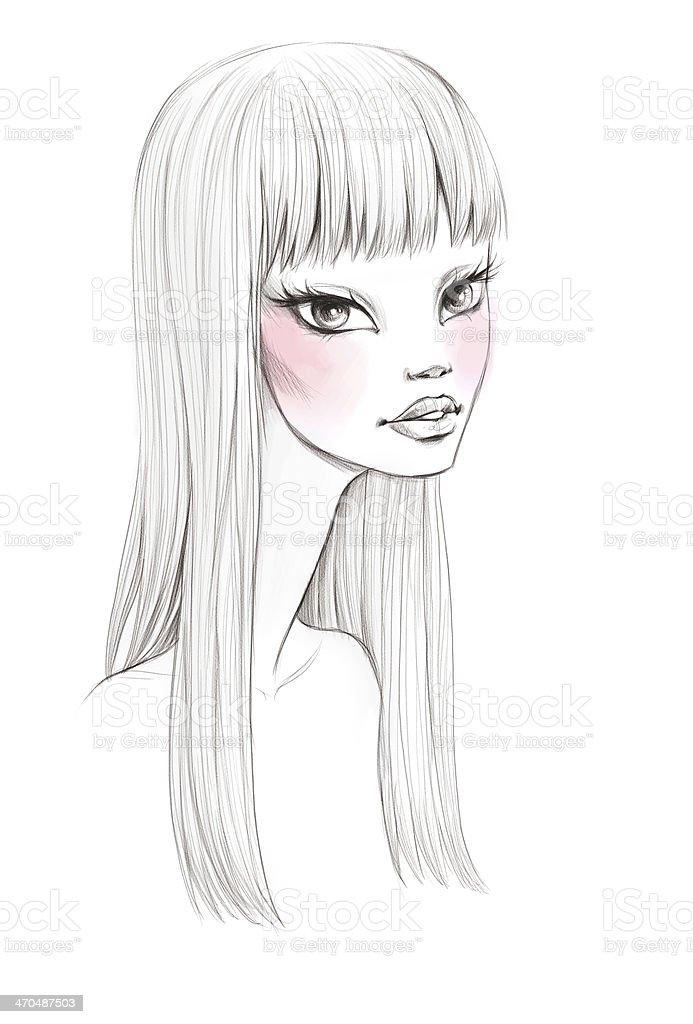 Beauty portrait sketch stock photo