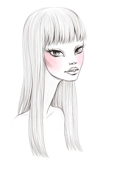 Beauty portrait sketch stock photo