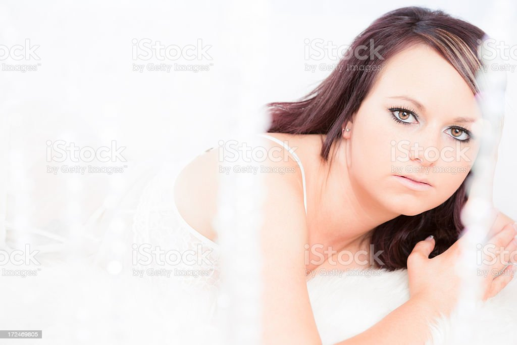 Beauty portrait with crystal curtain royalty-free stock photo