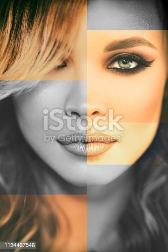Portrait of beautiful young woman with blond hair and perfect skin. Photo is retouched as composite from differently filtered parts of photo.