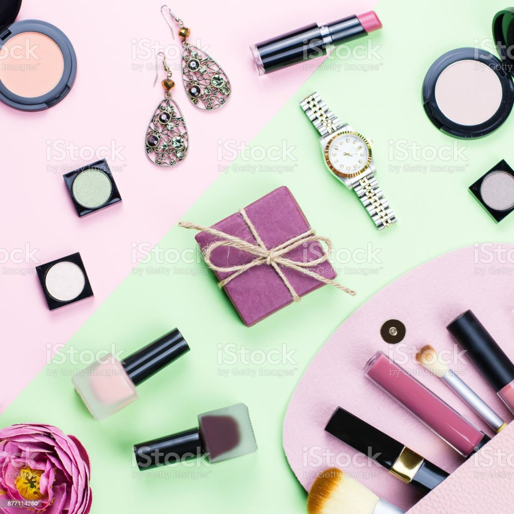 Beauty Products And Fashion Accessories Flat Lay On Pastel Background Stock Photo More