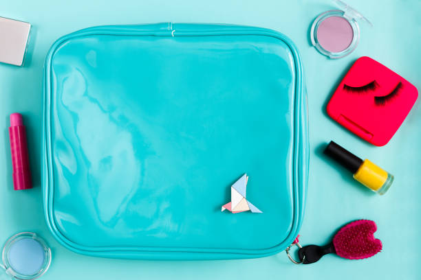 Beauty products, cosmetic bag with essentials stock photo