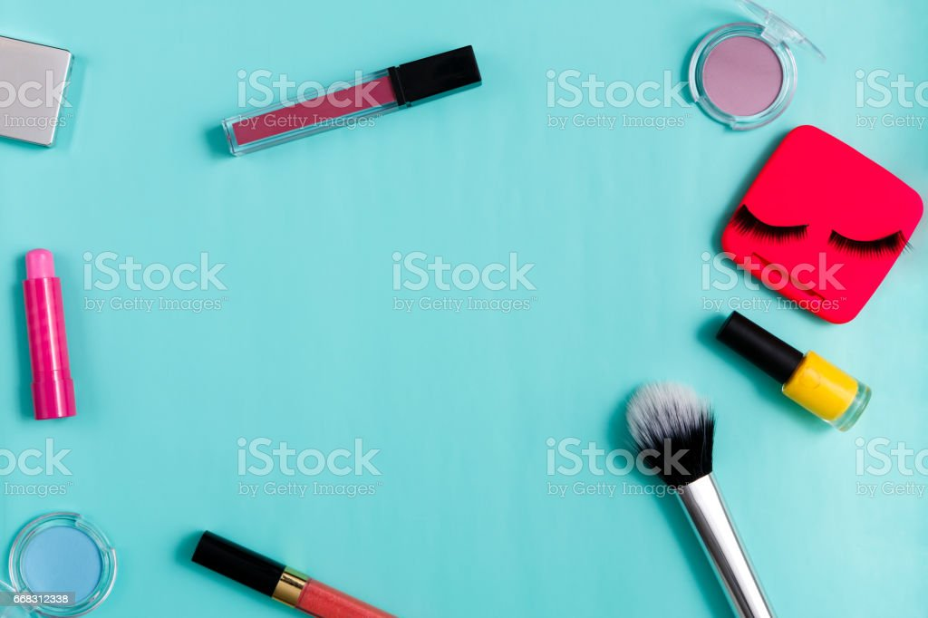 Beauty products, everyday make-up, cosmetics stock photo