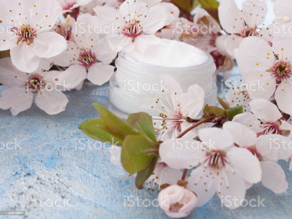 beauty products in eleganty arrangement stock photo