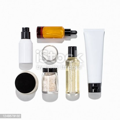 Beauty products isolated on white background (with clipping path)