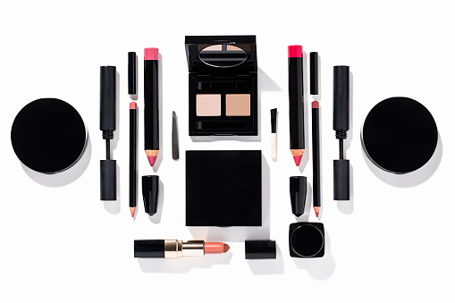 Beauty products(lipstick,mascara,eyeshadow, facepowder,eyeliner) isolated on background ( with clipping path)