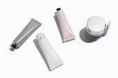 Cosmetic tube with fine tip dispenser, realistic mockup. Beauty product package with thin applicator, vector mock-up.
