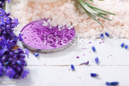 847096968 istock photo Beauty products with lavender on white wooden 653257622