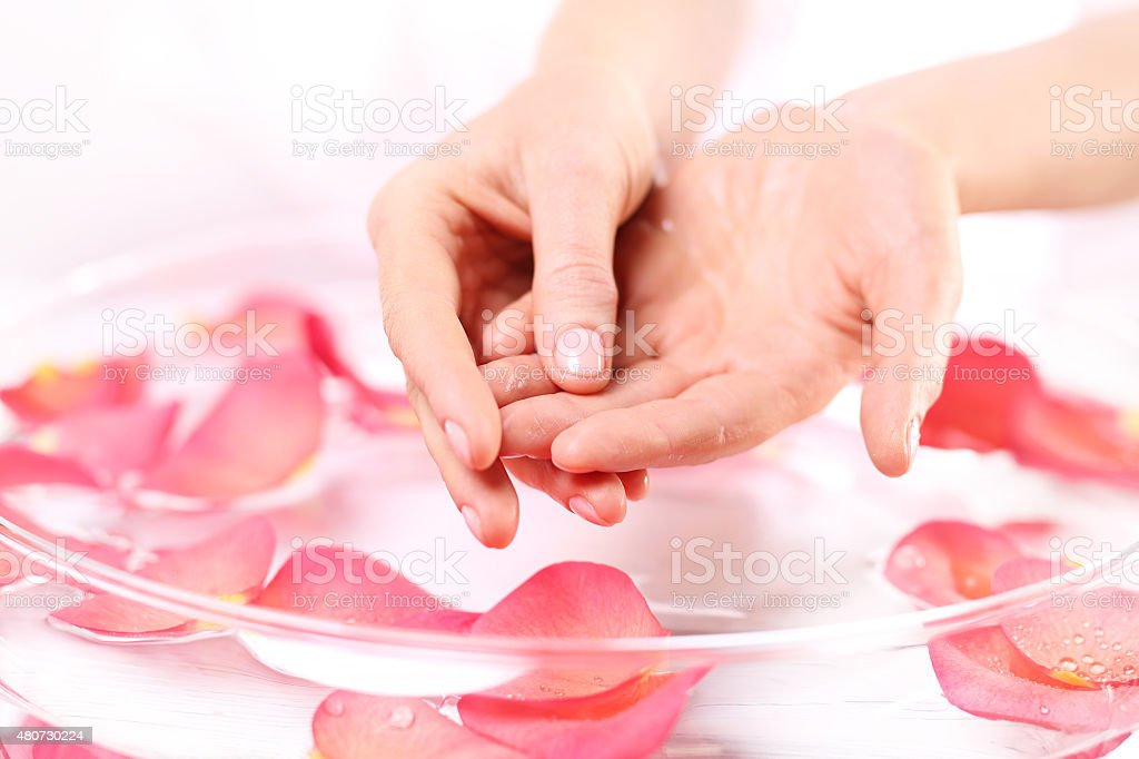 Beauty ritual for hands stock photo
