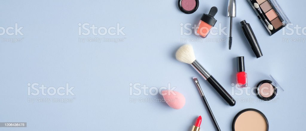 Beauty Salon Banner Design Template Makeup Cosmetic Products On Blue Background Top View With Copy Space Stock Photo Download Image Now Istock