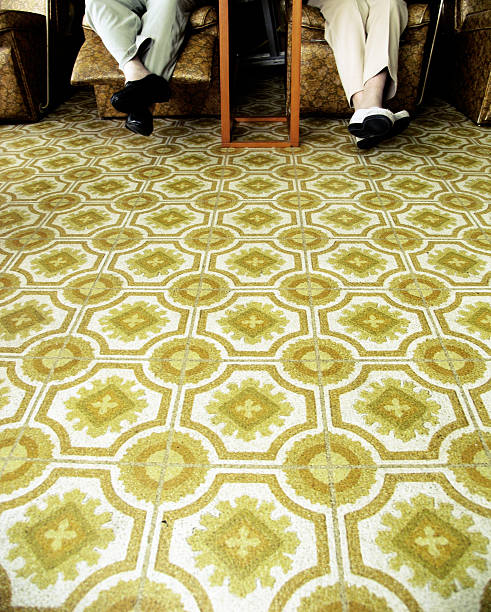 Beauty Salon Floor and Two Old Women  linoleum stock pictures, royalty-free photos & images